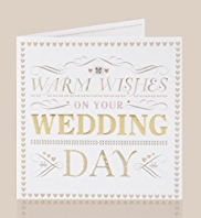Gold Embossed Wedding Day Card