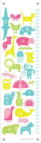 Oopsy Daisy ABC Animalia Pinks by Ampersand Design Studio Growth Charts, 12 by 42-Inch