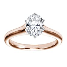 buy 18K Rose Gold Solitaire Diamond Engagement Ring Oval Cut ( H Color Vs2 Clarity 0.5 Ctw) - Size 8.5