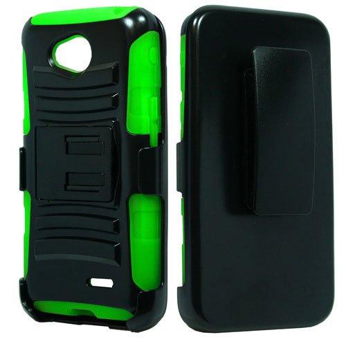 Black & Neon Green Impact Protective Armor Kickstand Hybrid Combat Cover Case + Locking Swivel Belt Clip Holster + Atom Led Keychain Light For Lg Pulse (Virgin Mobile)