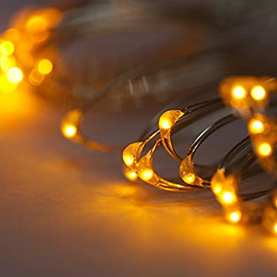 Pansdore 30 Min LED Christmas tree Lights. 8 Modes String Lights with Waterproof Battery Box and Timer Function. 10.8Ft Silver Ultra Thin Copper Wire. Indoor/ Outdoor Rope Lights.