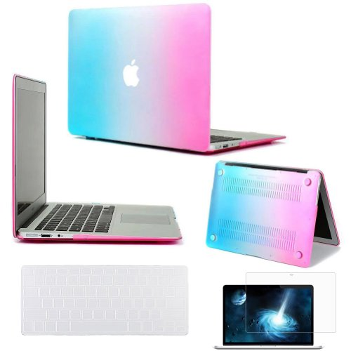 "Easygoby New Arrival Colorful Air 13-Inch 3 In 1 Rubberized Frosted Hradshell Case Cover For New Apple Macbook Air 13.3"" (Model A1369 And A1466) + Transparent Keyboard Cover + Screen Protector - Rainbow front-579540"