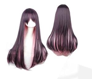Cosplay peluca pelo rosado gris 525 traje recto