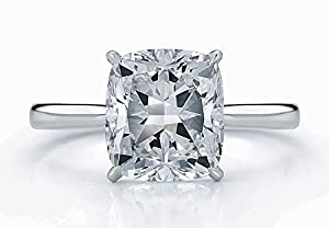 A Rare Diamond 4.01 Ct E Color VS2 Clarity GIA Certified Cushion Modified Brilliant Solitaire Engagement Ring