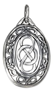 Sterling Silver Oval Celtic Infinity Knot Pendant with Filigree Border