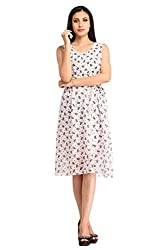 Snoby White Gorgette Cat Face Print Dress (SBY6076)