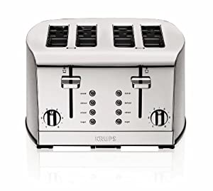 KRUPS KH734D50 Breakfast Set 4-Slice Toaster with Brushed and Chrome Stainless Steel Housing, Silver from KRUPS