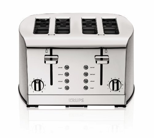 Krups Kh734 Breakfast Set 4-Slice Toaster With Brushed And Chrome Stainless Steel Housing, Silver