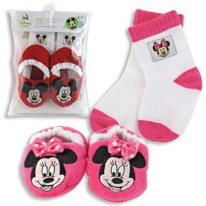 Mickey or MINNIE MOUSE - Disney BABY BOOTIES & Socks Set - 0-18 mos INFANT GIFT (Pink & White MINNIE)