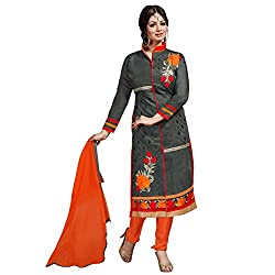 Manthan Chanderi Grey Embroidered Women's Chudidar Suit MNTKFMFDRMG36110