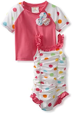 ABSORBA Baby-Girls Infant Two Piece Multi Color Swimsuit, Multi, 12