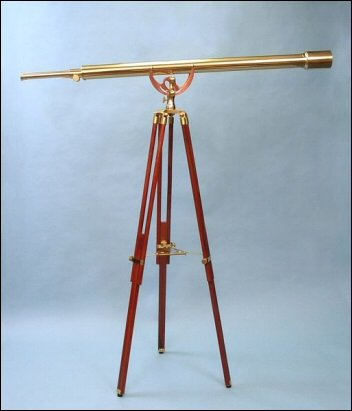 55-Inch Polished Brass Harbormaster Nautical Floor Stand Telescope On Mahogany Tripod