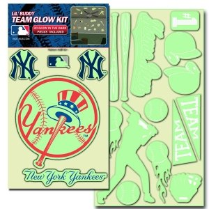 "MLB New York Yankees Lil Buddy ""Glow In The Dark"" Decal Kit (Pack of 20) at Amazon.com"