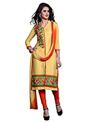 Women's Yellow & Orange Embroidered Cotton Semi Stitched Salwar Suit