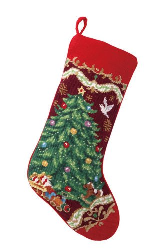 Christmas Tree with Toy Train Stocking, Wool Needlepoint, 11 Inch X 18 Inch (Christmas Toy Soldier)