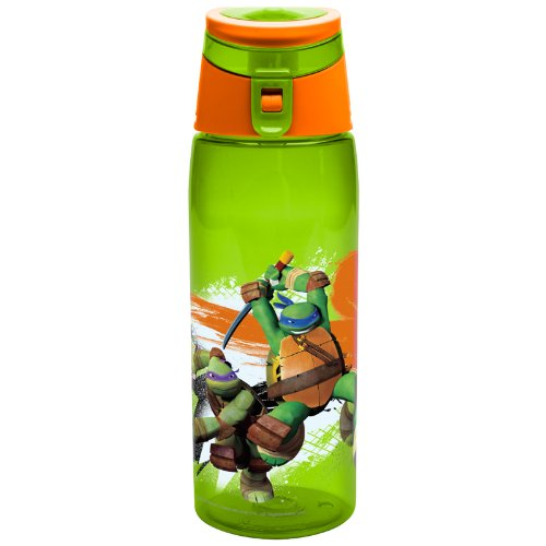 Zak! Designs Tritan Water Bottle with Flip-top Cap with Cartoon Teenage Mutant Ninja Turtle Graphics, Break-resistant and BPA-Free Plastic, 25 oz. (Ninja Turtles Water compare prices)
