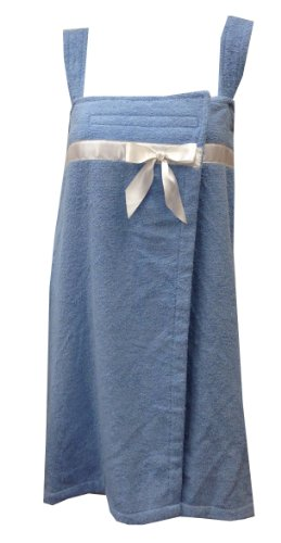 Solid Cotton Terry Loop Plus Size Shower Wrap With White Satin Bow, Lt. Blue, Os front-28818