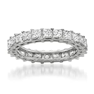 14k White Gold Princess-cut Diamond Eternity Bridal Wedding Band Ring (3 1/5 cttw, H-I, I1)