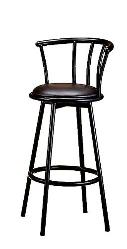 Bar Stool in Satin Black Finish Metal with Swivel Seat and Back (Set of 2)