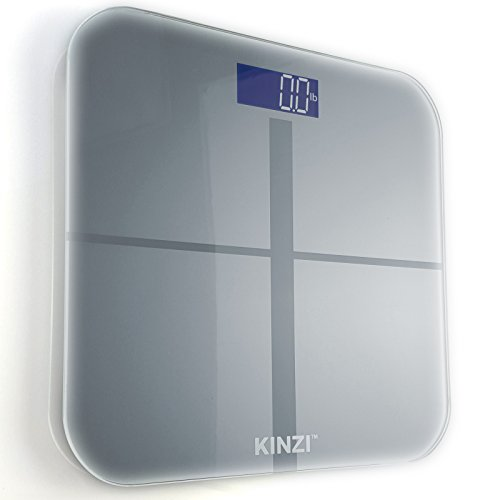 Kinzi precision digital bathroom scale w extra large lighted display 400 lb capacity and for Large capacity bathroom scale