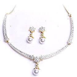 Viva Pearl Austrian Crystal Diamonds With 925 Sterling Silver Plated Chain Necklace Set With Earring For Women