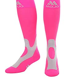 Mojo Coolmax Sports Compression Socks for Recovery & Performance (Medium, Hot Pink)