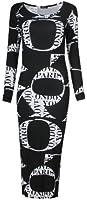 Fast Fashion Damen Lange Ärmel Leopard Stieg Schädel Zebra Schlangenprint Midi Kleid
