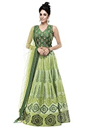 Granth Sky Grean Color Straight Semi Stitched Lehenga