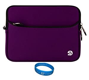 "Purple VG Neoprene Sleeve Cover for Le Pan S S-BK 9.7-Inch Tablet / Le Pan II 9.7 inch Tablet / Le Pan TC970 Android 9.7 "" Tablet / ASUS M80TA-C1-CA 8.0-Inch VivoTab Note 8 Tablet / Samsung Galaxy Tab 4 8"" inch + SumacLife Wristband"