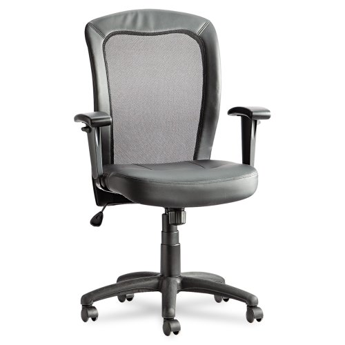 Alera Easton Series Mesh/Leather Mid-Back Synchro-Tilt Chair, Black Leather