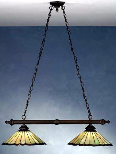 Meyda Tiffany Custom Lighting 81968 Caprice 2-Light Island Pendant, Mahogany Bronze Finish With Green And Brown Stained Glass Shades