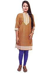 Indibelle Women Yellow Cotton 3|4th Sleeve Printed Kurti