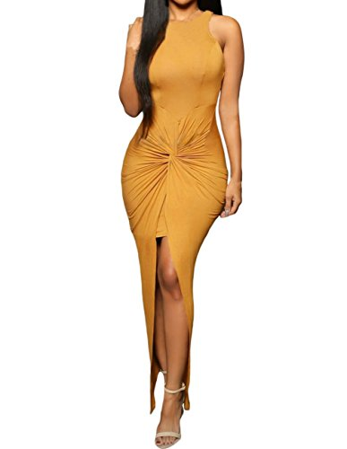 Sexy Womens Sleeveless Hig Low Knotted Slit Party Club Dress (S, Yellow)