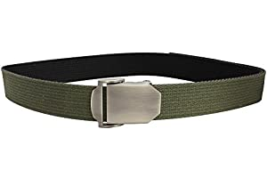 Bison Designs Flat Iron USA Made Double Stitch 38mm Active Webbing Full Steel and Zinc Double Adjust Buckle Belt, Black/Olive, Large/42-Inch Waist
