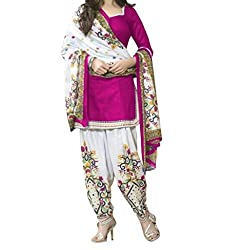 Look Smart Women's Polycoton Unstitched Dress Material (MONIKA PRINT PINK_Multicolor_Free Size)