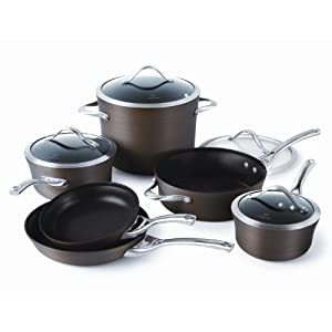Calphalon contemporary 10-piece bronze anodized edition nonstick.