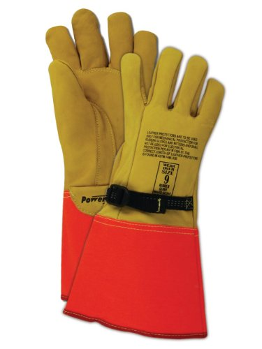 High Voltage Rubber Gloves : Magid powermaster ion leather glove for use with