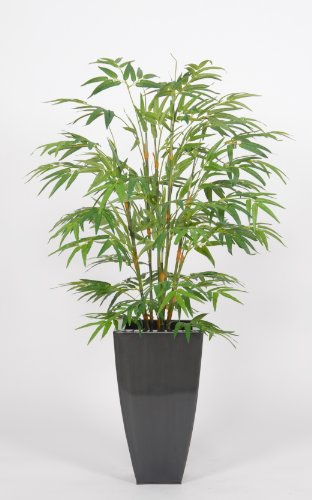 House of Silk Flowers Artificial Green Bamboo Floor Plant in Zinc 28″W x 48″H