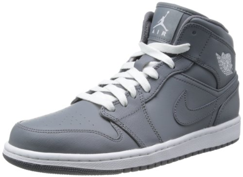 Nike Men's NIKE AIR JORDAN 1 MID BASKETBALL SHOES 9 Men US (COOL GREY/WHITE/COOL GREY) (Jordan 2013 Shoes compare prices)