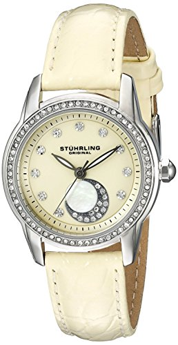 Original Condesa Stuhrling para mujer reloj infantil de cuarzo con esfera analógica Beige y Beige correa de piel 561,03