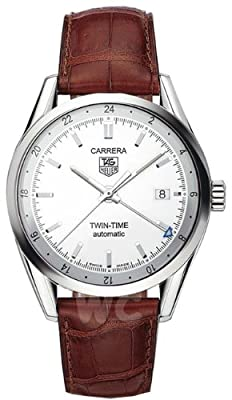 TAG Heuer Men's WV2116.FC6181 Carerra Calibre 7 Twin Time Automatic White Dial Brown Crocodile Watch