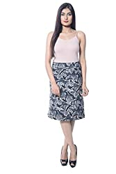 iamme Black printed knee length A-line skirt