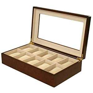 Watch Box for 10 Watches Burlwood Matte Finish XL Extra Large Compartments Soft Cushions Clearance Window