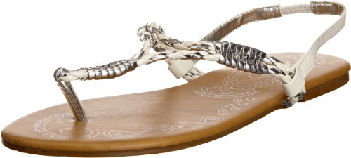 Odeon Women's Andie White/Silver Thong Sandals