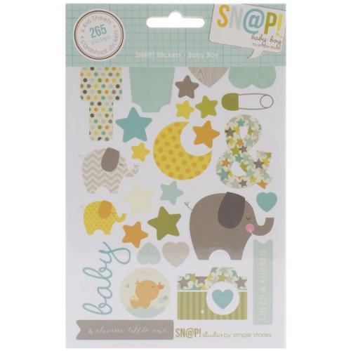 Simple Stories Snatp! Stickers Sheets, 4 by 6-Inch, Baby Boy, 4-Pack - 1
