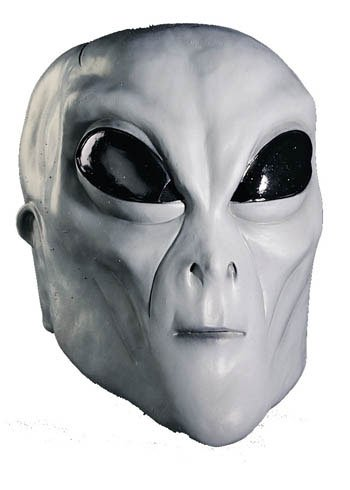 Scary-Masks Alien Grey Mask Halloween Costume - Most Adults