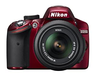 Nikon D3200 24.2MP Digital SLR with 18-55mm f/3.5-5.6 AF-S DX VR Zoom Lens (Red)