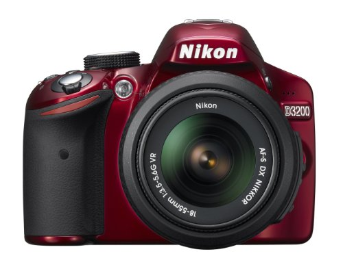 Nikon D3200 24.2 MP CMOS Digital SLR with 18-55mm f/3.5-5.6 AF-S DX VR NIKKOR Zoom Lens (Red)