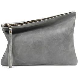 Leah Lerner Women Leather Clutch Grey Distressed