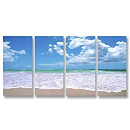 Neron Art - Handpainted Landscape Oil Painting on Gallery Wrapped Canvas Group of 4 pieces - Flensburg 32X16 inch (81X41 cm)